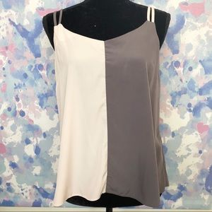 ASOS | Gray and Pink Color Block Tank Blouse